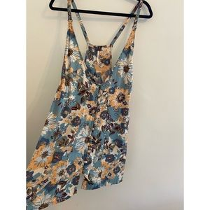 Free People Floral Mini Dress Tunic Top 8/Med